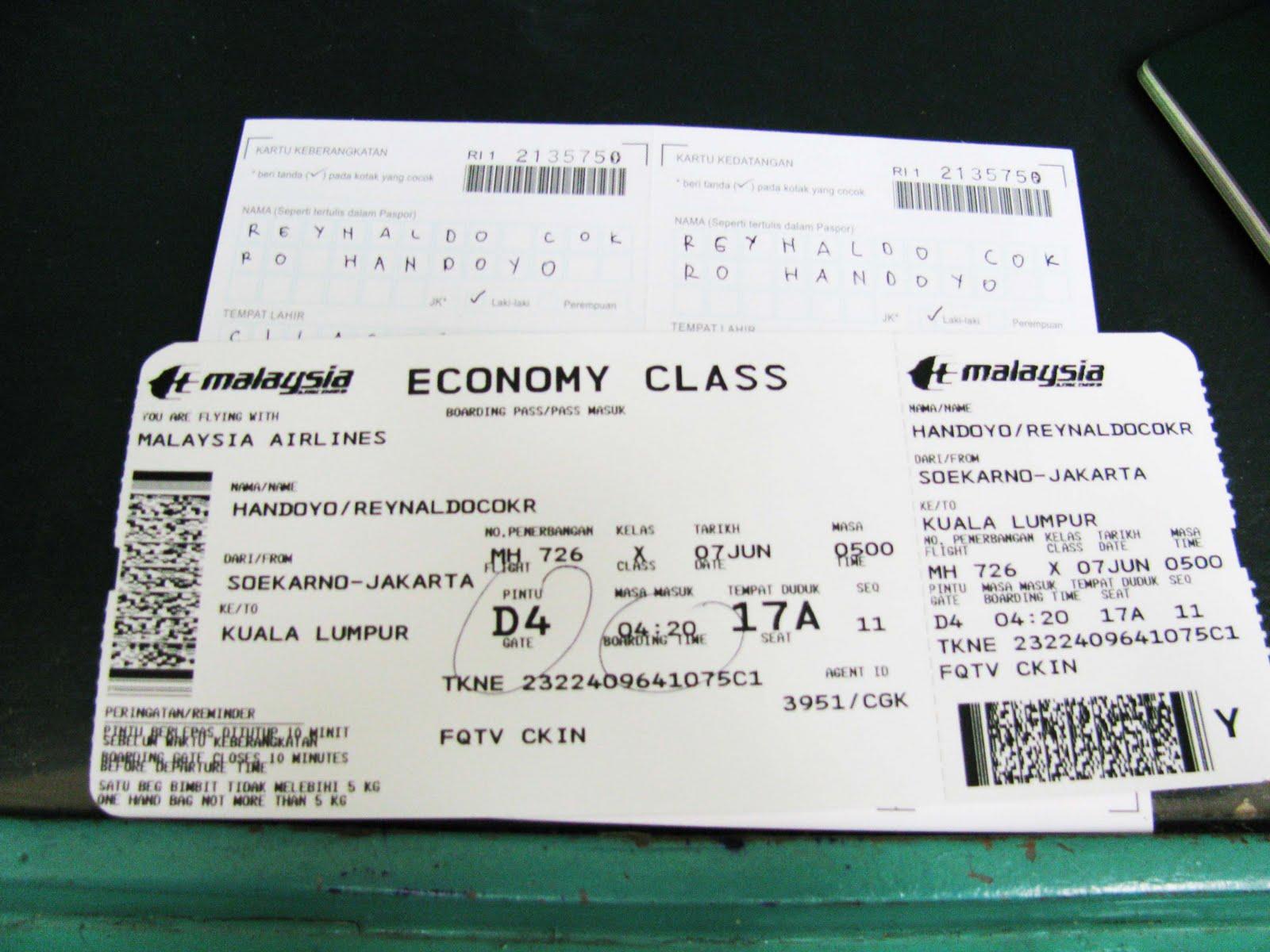 Boarding Pass Pesawat Terbang