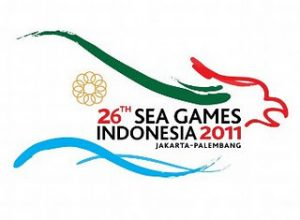 logo Official Airlines SEA Games XXVI di pesawat Garuda Indonesia